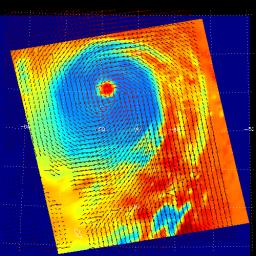These two images show Hurricane Isabel as viewed by AIRS and SeaWinds scatterometers on NASA's ADEOS-2 and QuikScat satellites in September, 2003.