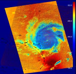 This image shows Hurricane Frances in August 2004 as captured by instruments onboard two different NASA satellites: the AIRS infrared instrument onboard Aqua, and the SeaWinds scatterometer onboard QuikSCAT.