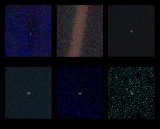 These six narrow-angle color images were made from the first ever 'portrait' of the solar system taken by NASA�s Voyager 1, which was more than 4 billion miles from Earth and about 32 degrees above the ecliptic.