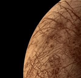 This color image of the Jovian moon Europa was acquired by NASA's Voyager 2 during its close encounter on Jul. 9, 1979. Europa, the size of our moon, is thought to have a crust of ice perhaps 100 kilometers thick which overlies the silicate crust.