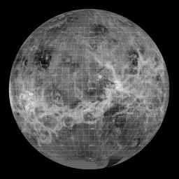This synthetic aperture radar mosaic from NASA's Magellan spacecraft is a global view of the surface of Venus.