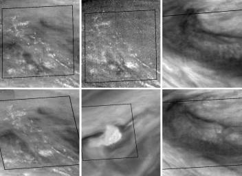 This montage features activity in the turbulent region of Jupiter's Great Red Spot (GRS). Four sets of images of the GRS were taken by NASA's Galileo imaging system over an 11.5 hour period on 26 June, 1996.