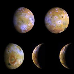 Five color views of Jupiter's moon Io, as seen by NASA's Galileo spacecraft camera, were taken between the 25th and the 29th of June, 1996