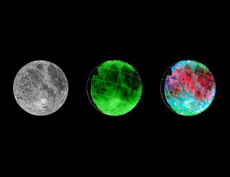NASA's Galileo has eyes that can see more than ours can. By looking at what we call the infrared wavelengths, types and sizes of material on the surface of Jupiter's moon, Ganymede, can be determined.