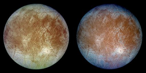 Natural and False Color Views of Europa