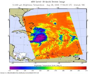 This infrared image shows Tropical Storm Ernesto over Cuba, from the Atmospheric Infrared Sounder (AIRS) on NASA's Aqua satellite in August, 2006.