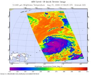 This infrared image shows Typhoon Ioke in the Western Pacific, from the Atmospheric Infrared Sounder (AIRS) on NASA's Aqua satellite in August, 2006.