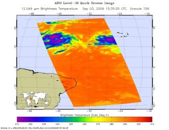This infrared image shows Tropical Depression 6 (Florence) in the Atlantic, from the Atmospheric Infrared Sounder (AIRS) on NASA's Aqua satellite in September, 2006.