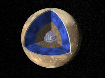NASA's Voyager images were used to create a global view of Ganymede. The cut-out reveals the interior structure of this icy moon.