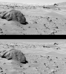 This image shows surface changes on Mars between touchdowns for NASA's Viking Lander 1 and Viking Lander 2 between Aug. 15, 1976 and Sept. 20, 1978. Whale Rock is shown at left.