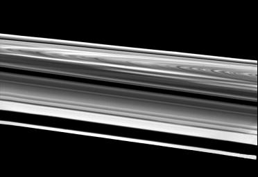 This wide-angle image of Saturn's rings was taken Aug. 26 just before NASA's Voyager 2's crossing of the plane of these complex structures. The spacecraft was 103,000 kilometers (64,000 miles) from the rings when it acquired this image.
