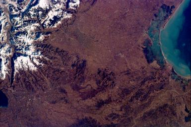 This image from NASA's KidSat spans the region of Venetia from the city of Venice, Italy, on the coast of the Adriatic Sea north to the snow-capped Alps. Venice appears in the lower left part of the image, and the Alps appear in the lower right.