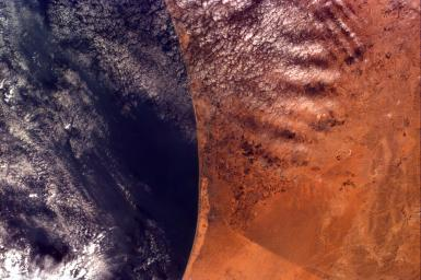 This image from NASA's Kidsat electronic still camera was requested by Buist Academy for the purpose of studying the coast of Israel and the Mediterranean Sea.