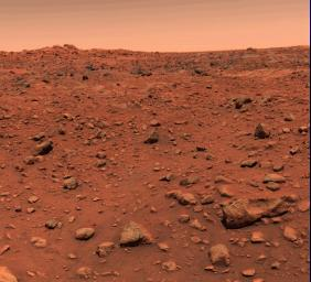 This color picture of Mars was taken July 21, 1997, the day following NASA's Viking l successfully landed on the red planet.