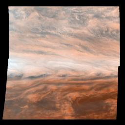 Pseudo-true color mosaic of a belt-zone boundary near Jupiter's equator. The images that make up the four quadrants of this mosaic were taken within a few minutes of each other by NASA's Galileo orbiter.