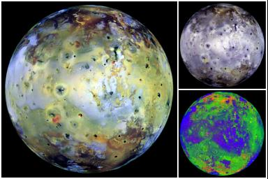 These full disk views of Jupiter's volcanic moon, Io, use images which were acquired by NASA's Galileo spacecraft on Dec. 18, 1996, when Io, the spacecraft, and the sun were nearly all aligned (near zero degrees phase angle).