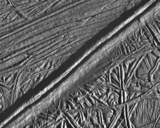 Mosaic of Europa's Ridges, Craters