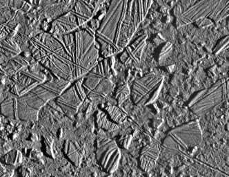 This image taken on Feb. 20, 1997 by NASA's Galileo spacecraft, shows the ice-rich crust of Europa, one of the moons of Jupiter.