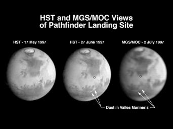 NASA's Hubble and Mars Global Surveyor views of dust storm on Mars.