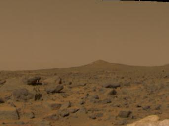 This image of the Martian surface was taken in the afternoon of NASA's Mars Pathfinder's first day on Mars. Taken by the Imager for Mars Pathfinder (IMP camera), the image shows a diversity of rocks strewn in the foreground.