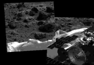 This image shows that NASA's Mars Pathfinder airbags have been successfully retracted, allowing safe deployment of the rover ramps. Mars Pathfinder landed successfully on the surface of Mars July 4, 1997 at 10:07 a.m. PDT.