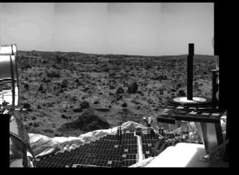 Several prominent features of NASA's Mars Pathfinder and surrounding terrain are seen in this image, taken by the Imager for Mars Pathfinder on July 4 (Sol 1), the spacecraft's first day on the Red Planet.