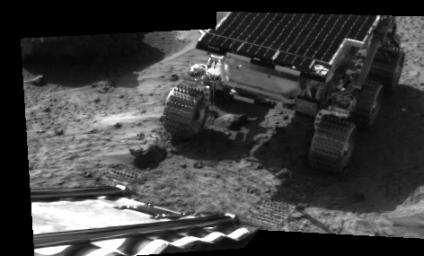 This picture taken by the IMP (Imager for Mars Pathfinder) aboard NASA's Mars Pathfinder spacecraft depicts the rover Sojourner's position after driving onto the Martian surface in 1997.