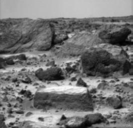 A close-up of the rectangular rock called 'Flat Top' from NASA's Mars Pathfinder (MPF) rover Sojourner in July, 1997.