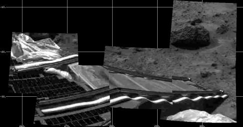 NASA Mars Pathfinder's rear rover ramp can be seen successfully unfurled in this image, taken at the end of July 5, 1997 Sol 2 by the Imager for Mars Pathfinder (IMP).