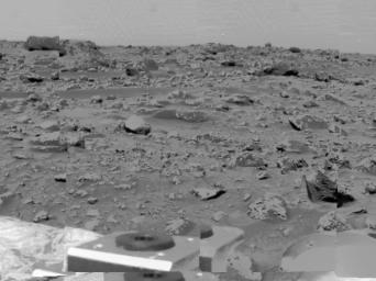 An area of very rocky terrain at the Ares Vallis landing site, along with the lander's deflated airbags, were imaged by NASA's Imager for Mars Pathfinder (IMP) on July 6, 1997.
