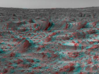 Many prominent rocks near the Sagan Memorial Station are featured in this image, from NASA's Mars Pathfinder. Wedge is at lower left; Shark, Half-Dome, and Pumpkin are at center. 3-D glasses are necessary to identify surface detail.