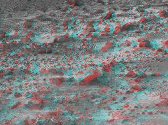 This area of terrain near the Sagan Memorial Station was taken by NASA's Mars Pathfinder. 3D glasses are necessary to identify surface detail.