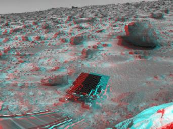 This area of terrain near the Sagan Memorial Station was taken by NASA's Mars Pathfinder. The curved rock dubbed 'Couch.' 3D glasses are necessary to identify surface detail.