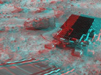 At right, NASA's Sojourner has traveled off the lander's rear ramp and onto the surface of Mars. The rock 'Barnacle Bill' and the rear ramp is to the left of Sojourner. 3D glasses are necessary to identify surface detail.