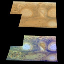 Jupiter's White Ovals/True and False Color