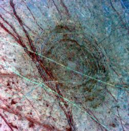 This image, taken April 4, 1997, by NASA's Galileo spacecraft, features Jupiter's moon, Europa.