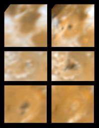 Two views of three areas on Jupiter's moon Io showing changes seen on June 27th, 1996 by NASA's Galileo spacecraft as compared to views seen by the Voyager spacecraft during the 1979 flybys.