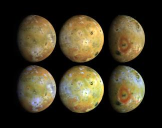 Three views of the full disk of Jupiter's volcanic moon, Io, each shown in natural and enhanced color. These three views, taken NASA's Galileo in late June 1996, show about 75 percent of Io's surface.