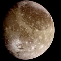 Natural color view of Ganymede from NASA's Galileo spacecraft during its first encounter with the satellite. The dark areas are the older, more heavily cratered regions and the light areas are younger, tectonically deformed regions.