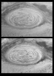 These mosaics (6 frames each) were taken nine hours apart and reveal Jupiter's winds through the movements of cloud features by NASA's Galileo orbiter June 26th, 1996.