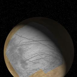 This global view of Europa shows the location of a four-frame mosaic of images taken by NASA's Galileo spacecraft in 1996, set into low-resolution data obtained by NASA's Voyager spacecraft in 1979.