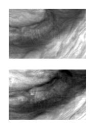 These two images of Jupiter's atmosphere were taken with the violet filter of the Solid State Imaging (CCD) system aboard NASA's Galileo spacecraft. Mesoscale waves can be seen in the center of the upper image. The images were obtained on June 26, 1996.