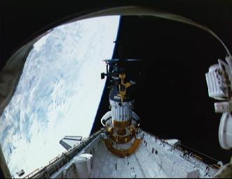 Deployment of NASA's Galileo and the IUS from the cargo bay of STS-34 Atlantis at 7:15 p.m. EDT on October 18, 1989. P-35213