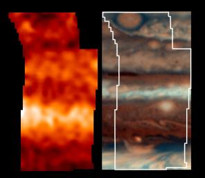 This is one of the highest resolution images ever recorded of Jupiter's temperature field. It was obtained by NASA's Galileo mission, with its Photopolarimeter-Radiometer (PPR) experiment, during the seventh of its 10 orbits around Jupiter to date.