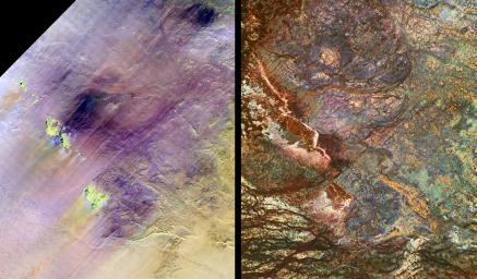 These images show two views of a region of south-central Egypt. On the left is an optical image from NASA's Landsat Thematic Mapper, and on the right is a radar image from NASA's Spaceborne Imaging Radar-C/X-band Synthetic Aperture Radar (SIR-C/X-SAR).