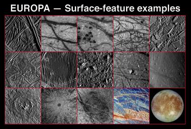 These 15 frames show the great variety of surface features on Jupiter's icy moon, Europa, which were revealed by NASA's Galileo spacecraft Solid State Imaging (CCD) system during its first six orbits around Jupiter from June 1996 to February 1997.