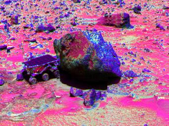 NASA's Mars Pathfinder Lander, Sojourner, made contact with the rock 'Yogi' in this false-color image from 1997, taken with the Imager for Mars Pathfinder (IMP).