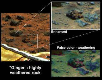 In 1997, NASA's Mars Pathfinder took this picture of an unusual rock dubbed 'Ginger,' located southeast of the lander.