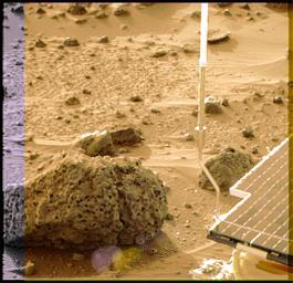 Barnacle Bill is a small rock immediately west-northwest of NASA's Mars Pathfinder lander and was the first rock visited by the Sojourner Rover's alpha proton X-ray spectrometer (APXS) instrument. Sol 1 began on July 4, 1997.