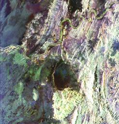This radar image covers a portion of the Richtersveld National Park and Orange River (top of image) in the Northern Cape Province of the Republic of South Africa.